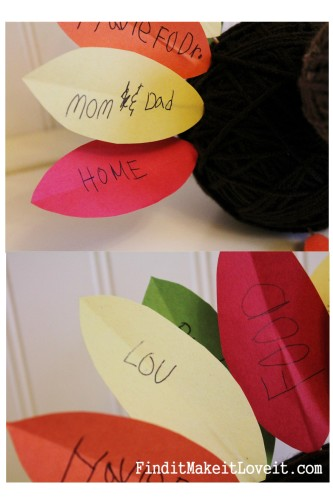 Let the kids write things they are thankful for on paper feathers for this cute yarn ball turkey craft