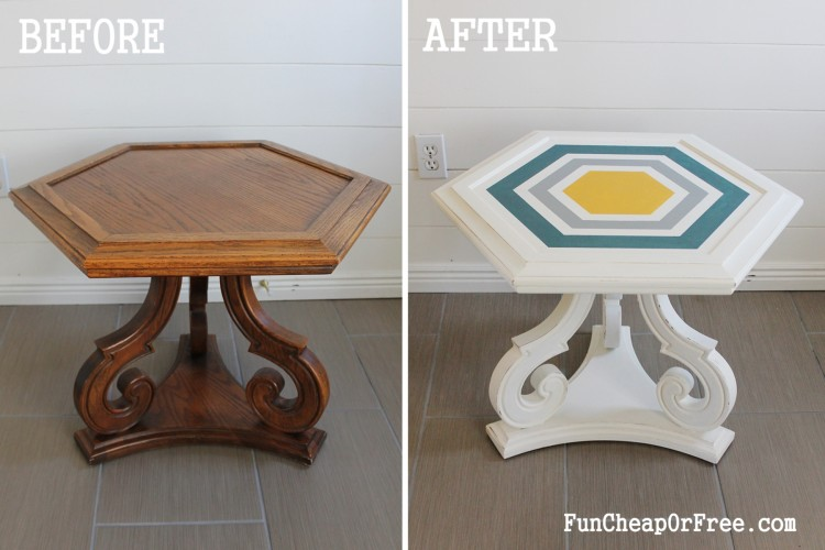DIY Chalk paint-Hexagon table (1)