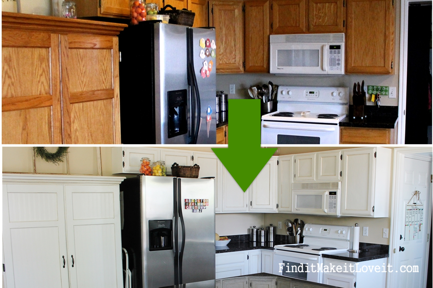 delightful Kitchen Cabinet Makeovers #7: Painted kitchen cabinets DIY (2)