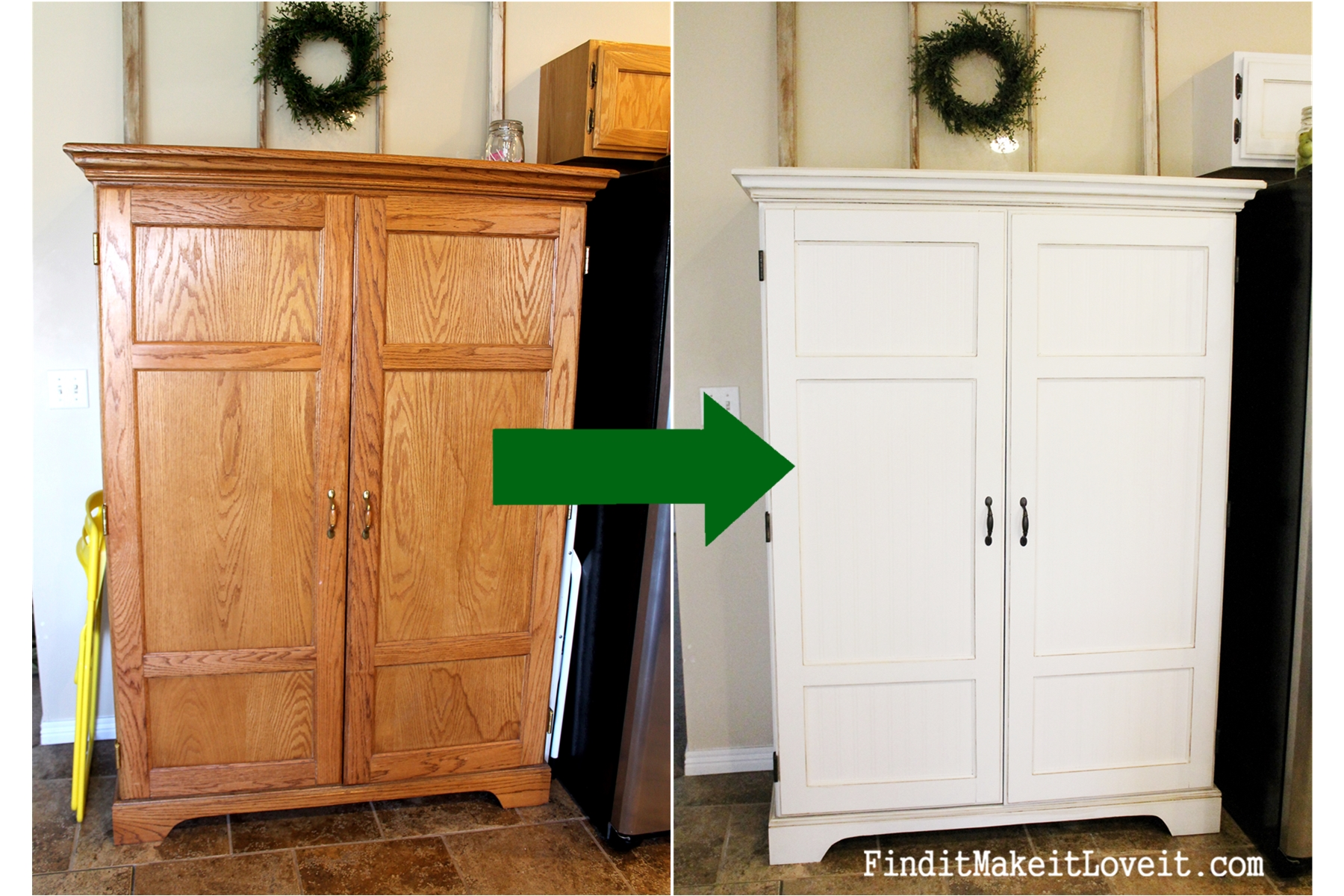 nice Kitchen Hutch Diy Part - 11: Painted kitchen cabinets DIY (34)