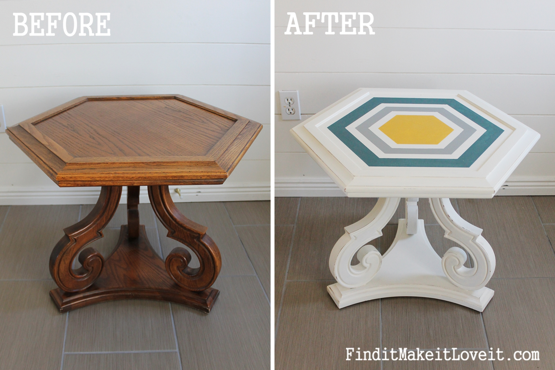 DIY Chalk Paint-Hex table (1)