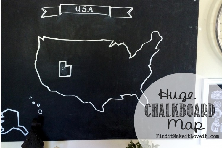 Huge Chalkboard Map Find It Make It Love It - Us map chalkboard