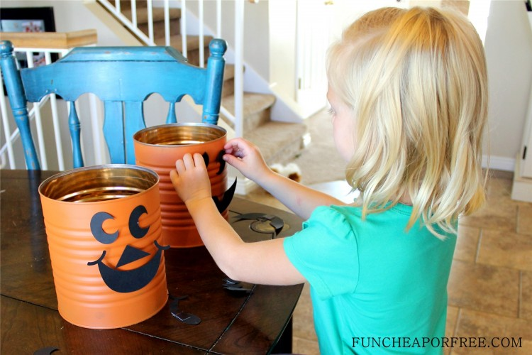 Tin Can Jack o lantern, pumpkin (7)