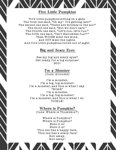 Free Printable Halloween Songs and Rhymes - Page 1