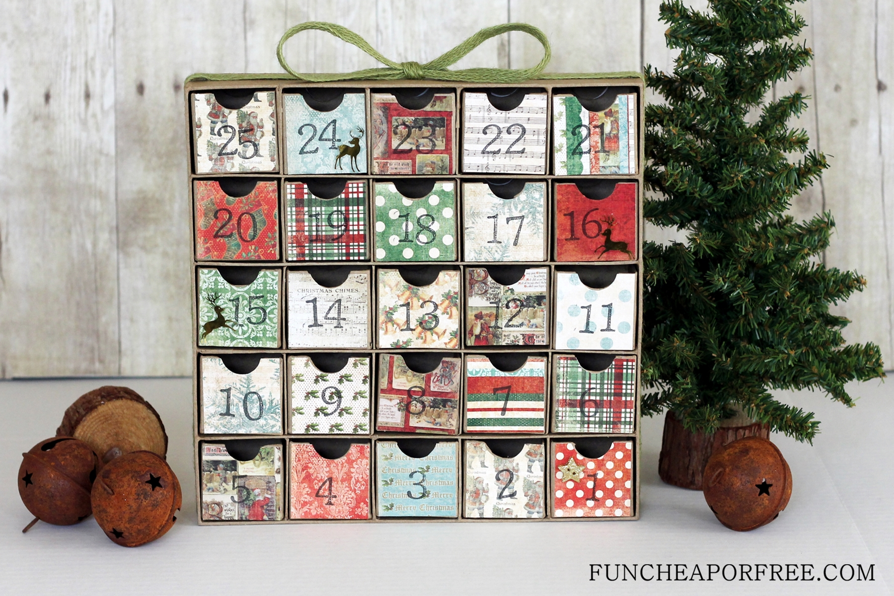 Diy advent calendar all you need is scrapbook paper How to build a wooden advent calendar