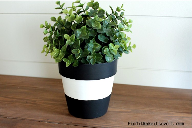 Striped terra cotta pot