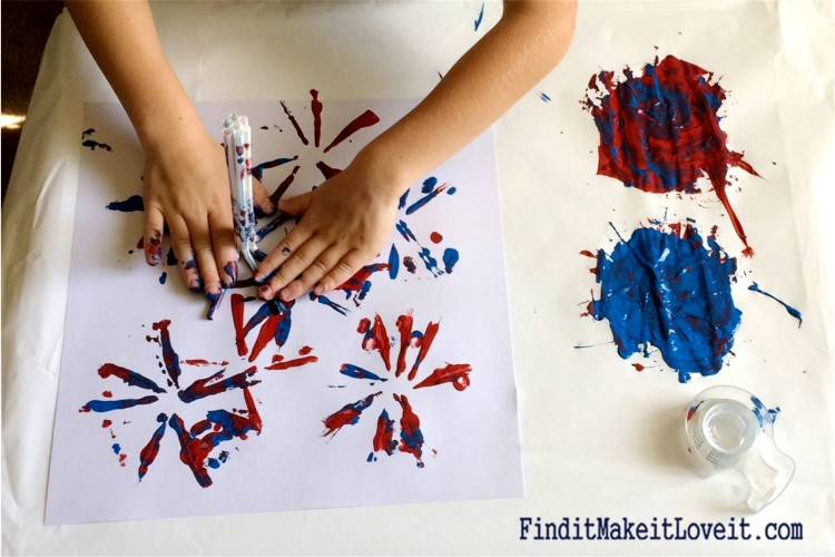 Painted Fireworks-craft for kids