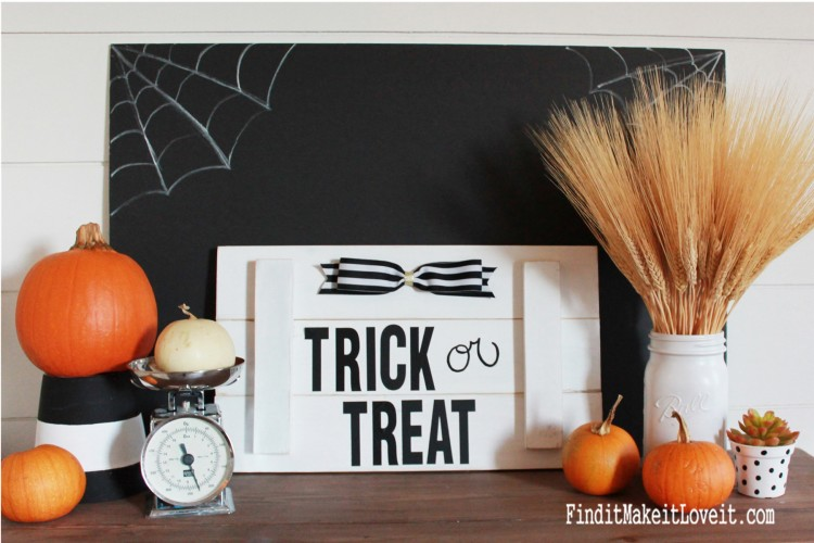 Trick or Treat Halloween sign-a simple slat sign using scrap wood and address stickers. Quick, easy, and inexpensive Halloween decoration!