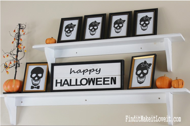 Family of skulls for Halloween. Free printable!