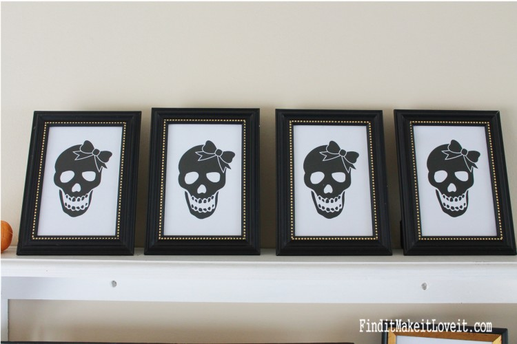 Girl Skull printable in dollar store frame