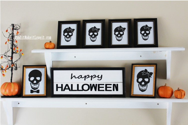 Free Skull printable in Dollar Store picture frames makes a cute and inexpensive Halloween decoration!