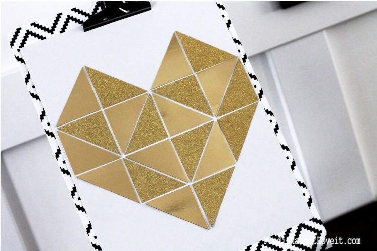 Step by step tutorial for making a beautiful gold geometric heart. An easy DIY perfect for Valentine's Day!