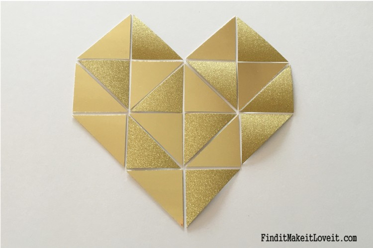 Step by step tutorial for making a beautiful gold geometric heart,