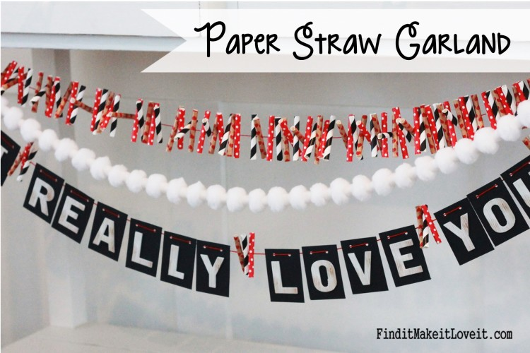 Paper straws cut and strung together for a festive and cute garland. With so many colors and patterns available in paper straws, this is a perfect banner to make for any occasion!
