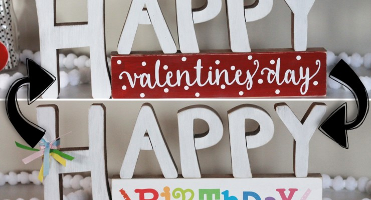 Happy Valentine's Day reversible sign