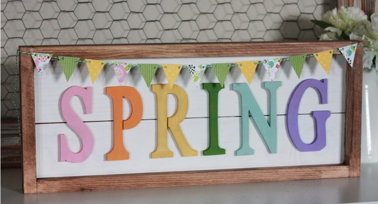 SPRING Framed Plank Sign